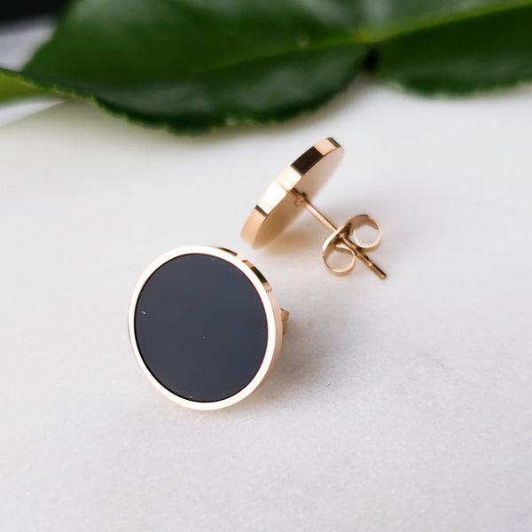 Black Round Circle Rose Gold Surgical Stainless Steel Stud Earrings (3 sizes) - Del Valle