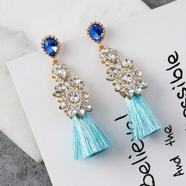 Crystal Tassel Statement Drop Stud Earrings Sterling Silver Needle - Del Valle