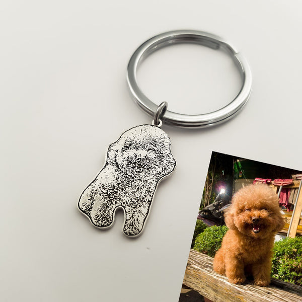 Personalized Picture Keychain in 999 Silver- Fur Baby - Del Valle