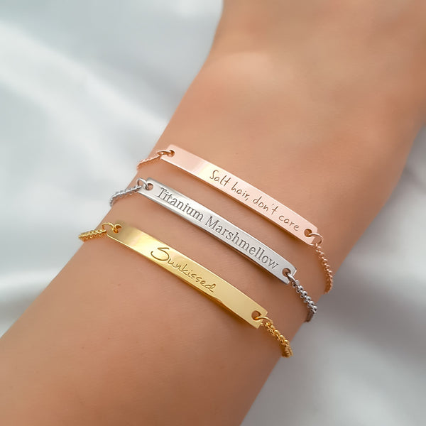Personalized Message Bar Bracelets - Del Valle