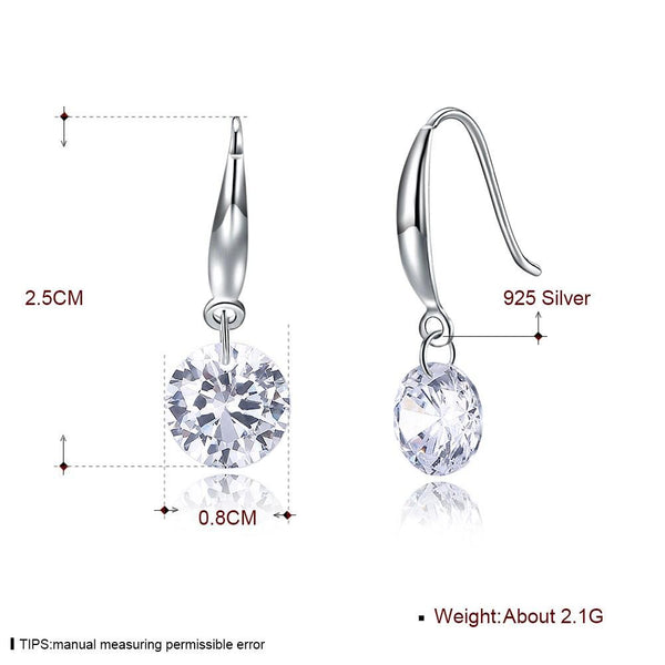 Dazzling 2ct.(8mm) Cubic Zirconia 925 Sterling Silver Dangle Hook Earrings - Del Valle