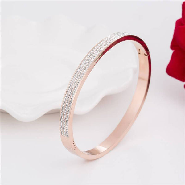 Eleanor Rose Gold Stainless Steel Zirconia Bangle - Del Valle