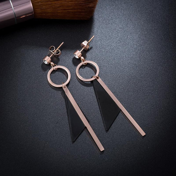 Elegant Rose Gold and Black Geometric Surgical Steel Earrings - Del Valle