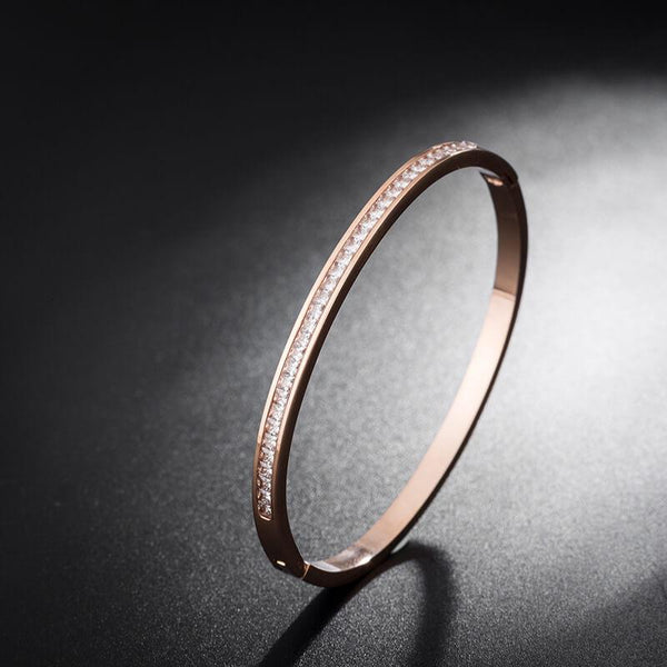 Elisa Rose Gold Stainless Steel Zirconia Bangle - Del Valle