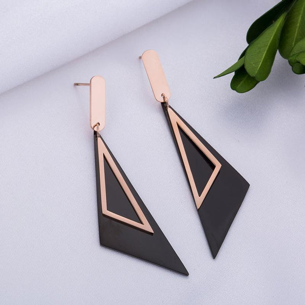 Exquisite Rose Gold and Black Surgical Steel Geometric Triangle Earrings - Del Valle
