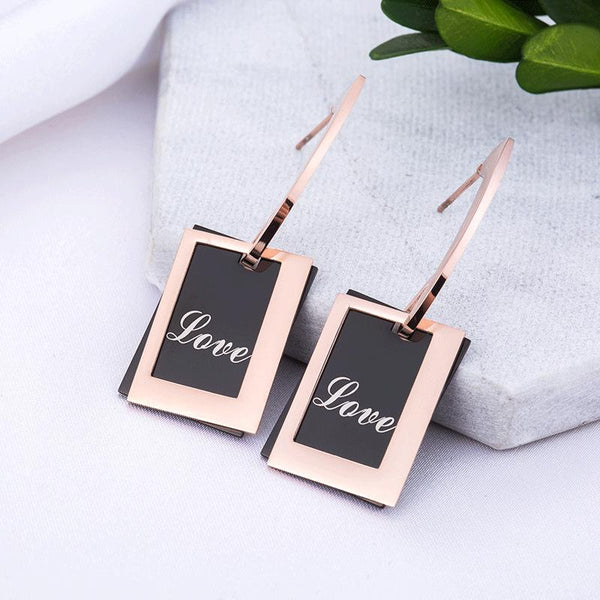 Exquisite Rose Gold and Black Square Surgical Steel Earrings - Del Valle