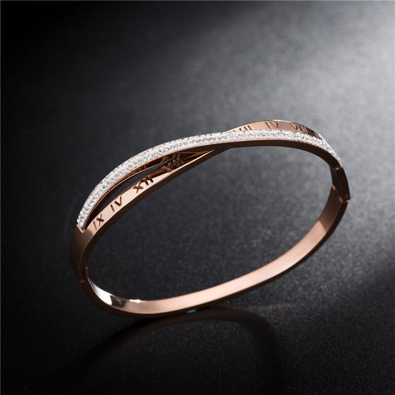 Florence Rose Gold Stainless Steel Zirconia Bangle - Del Valle