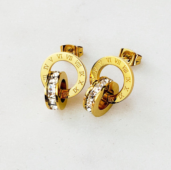 Gold Infinity Roman Number Crystal Surgical Stainless Steel Stud Earrings - Del Valle