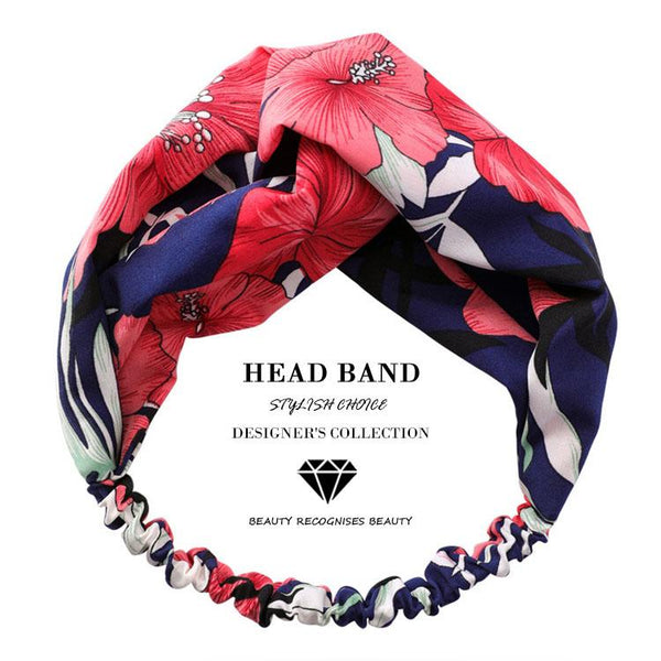 Indigo Passion Floral Top Knot Headband - Del Valle
