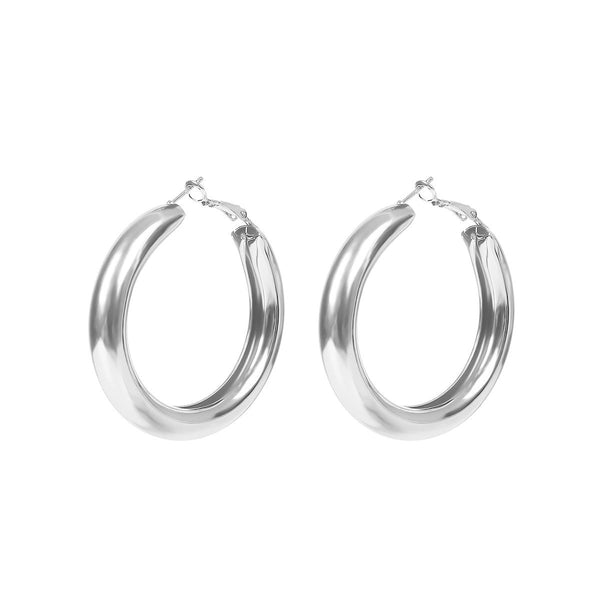 Modern Contemporary Metal Hoop Statement Earrings - Del Valle