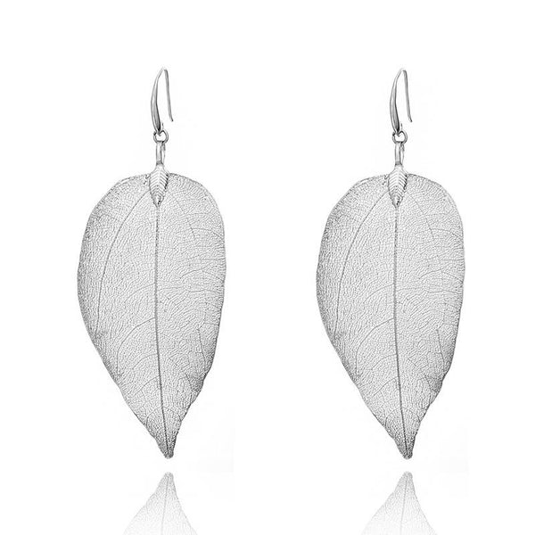 Natural Plated Leaf Drop Hook Earrings - Del Valle