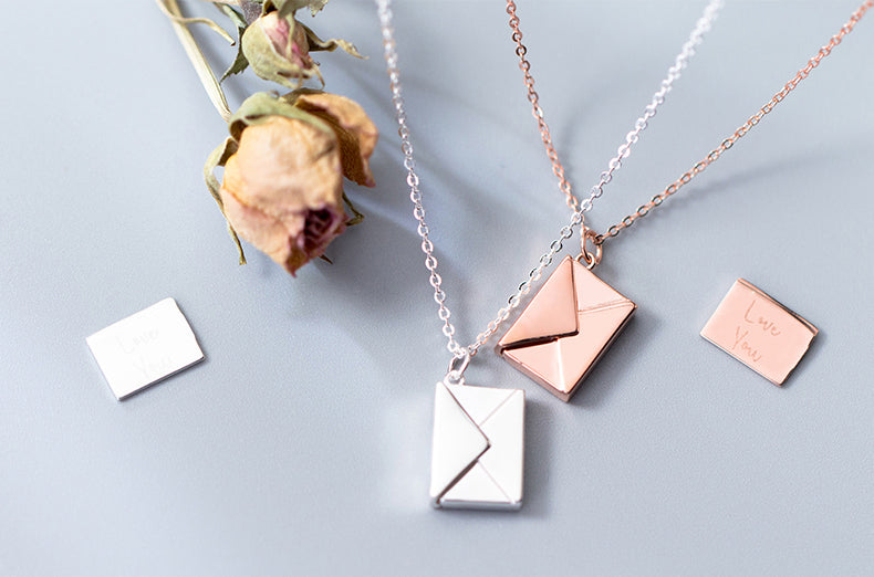 Sterling Silver Rose Gold Plated Love Letter Necklace - Del Valle