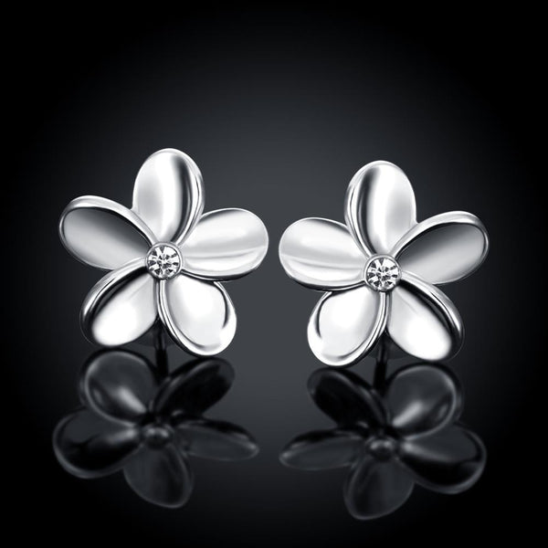 Platinum Plated Simple Flower Stud Earrings - Del Valle