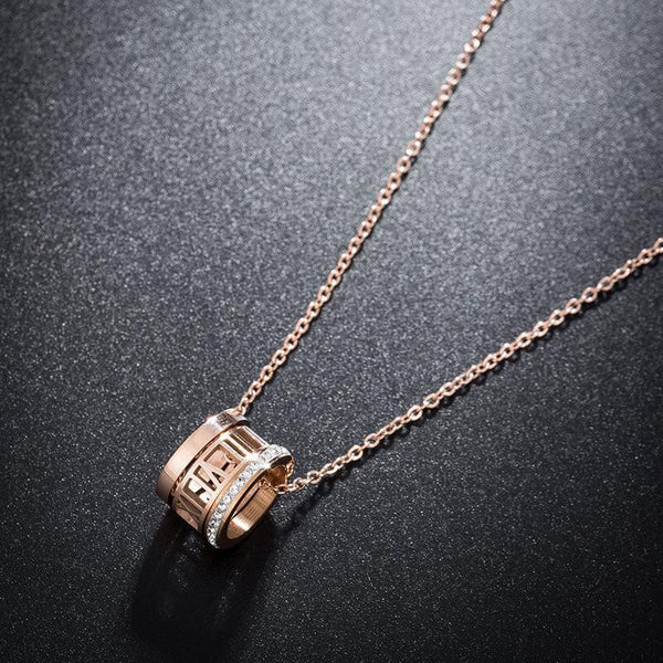 Rose Gold 3 Rings Roman Crystal Shine Hypoallergenic Stainless Steel Necklace - Del Valle