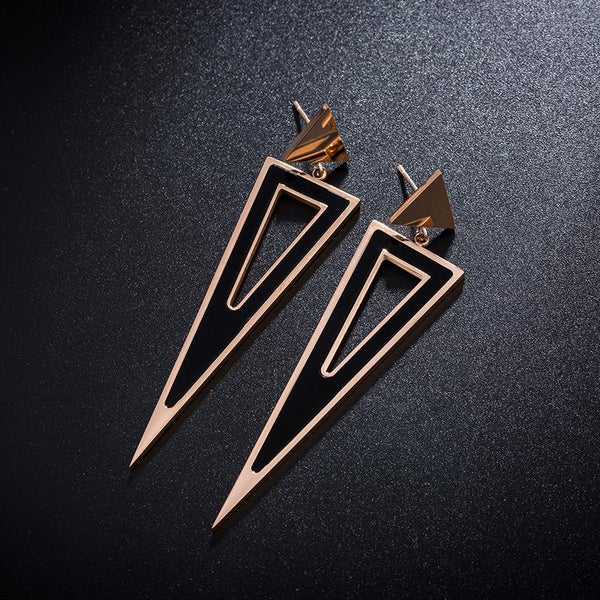 Rose Gold Black Stainless Steel Geometric Double Triangle Hollow-Out Stud Drop Earrings - Del Valle