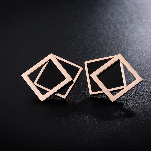 Rose Gold Black Surgical Stainless Steel Double Square Stud Earrings Hypoallergenic - Del Valle