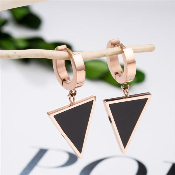 Rose Gold Black Surgical Stainless Steel Geometric Triangle Huggie Hoop Earrings - Del Valle