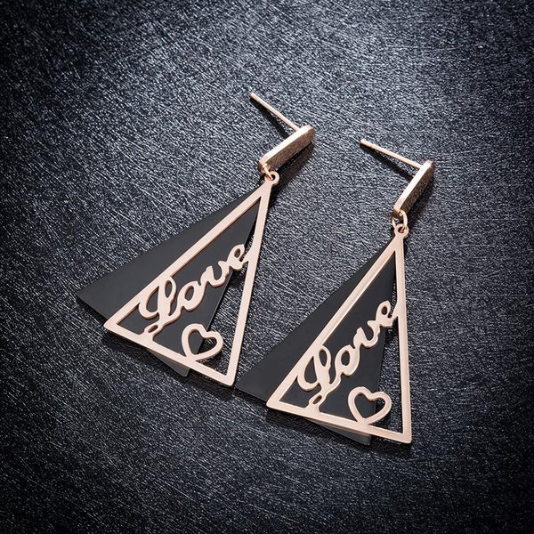 Rose Gold Black Surgical Stainless Steel Geometric Triangle Love Heart Stud Drop Earrings - Del Valle