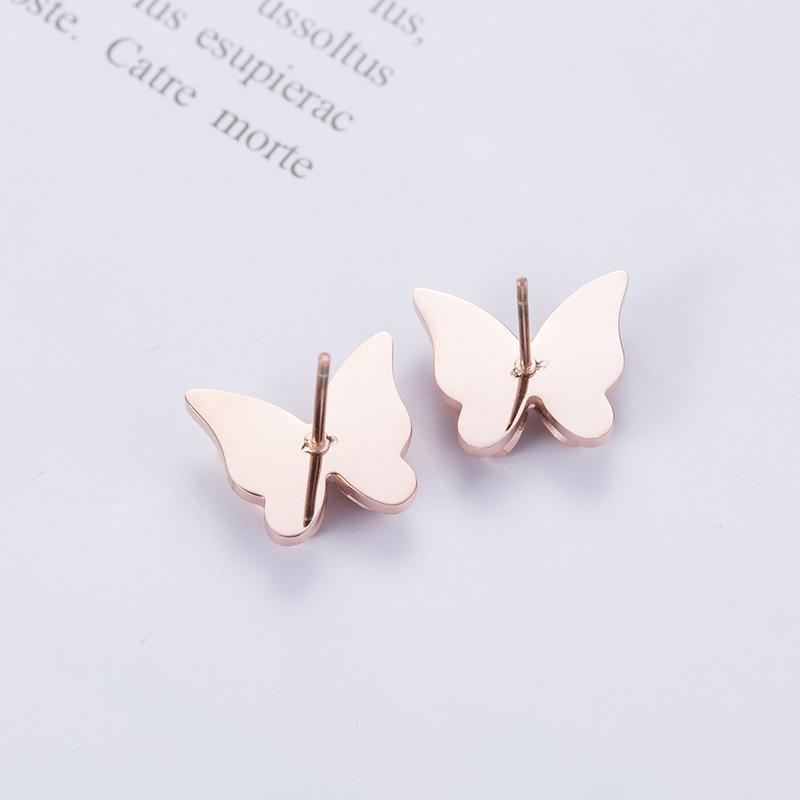 Rose Gold Butterfly Dangle Surgical Stainless Steel Drop Stud Earrings - Del Valle