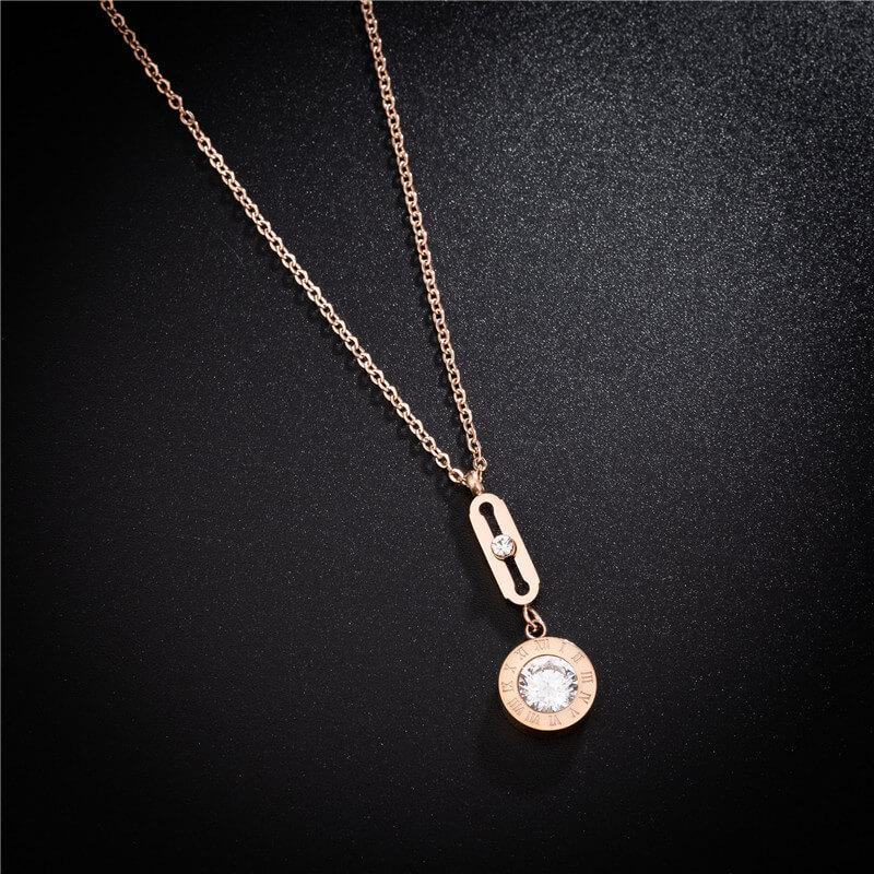 Rose Gold Crystal Pendant Hypoallergenic Stainless Steel Dainty Necklace - Del Valle