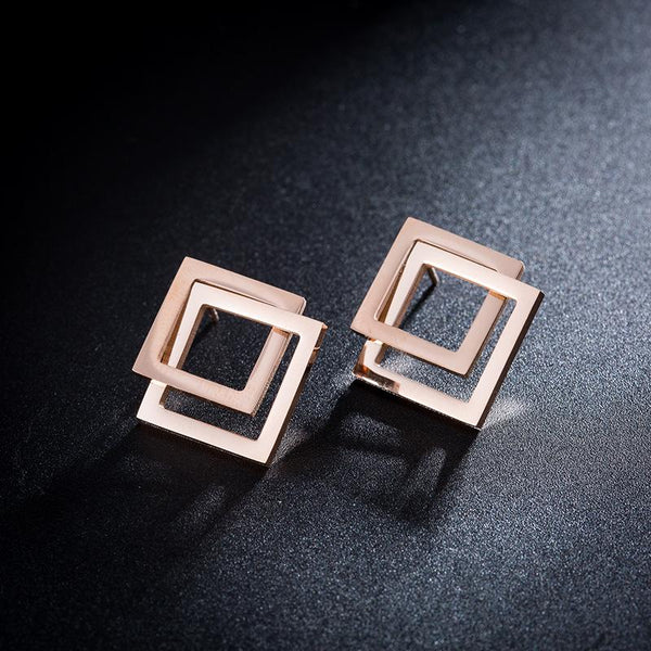 Rose Gold Geometric Double Sqaure Surgical Steel Earrings - Del Valle