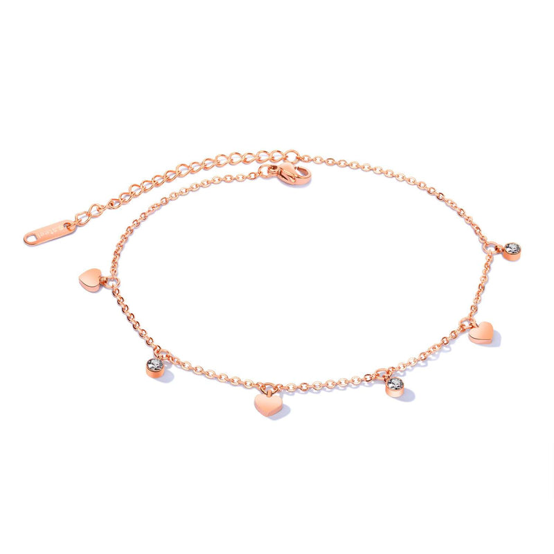 Rose Gold Hearts Surgical Stainless Steel Anklet - Del Valle