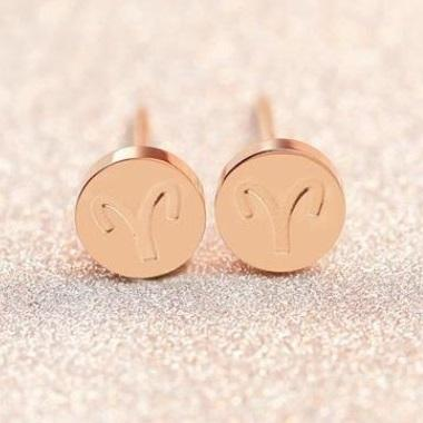 Rose Gold Zodiac Sign Surgical Stainless Steel Hypoallergenic Stud Earrings - Del Valle