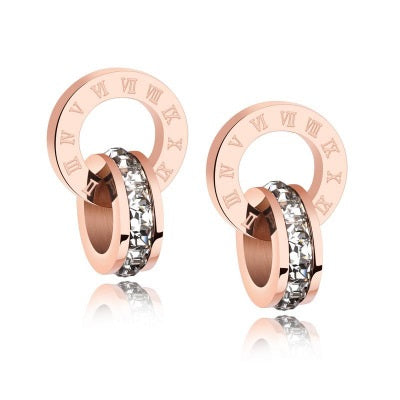 Rose Gold Infinity Roman Number Crystal Surgical Steel Stud Earrings - Del Valle