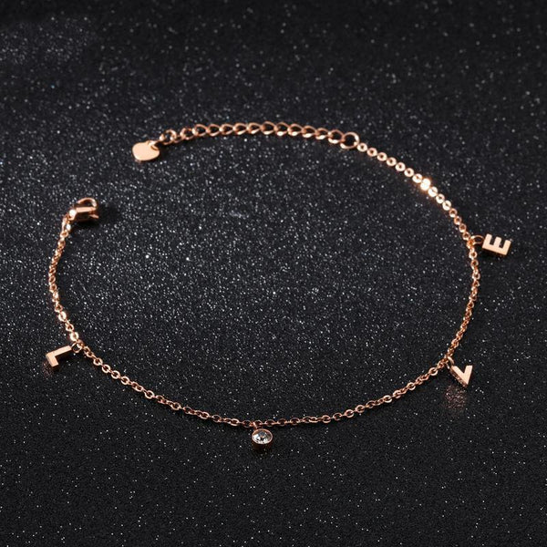 Rose Gold LOVE Surgical Stainless Steel Anklet - Del Valle