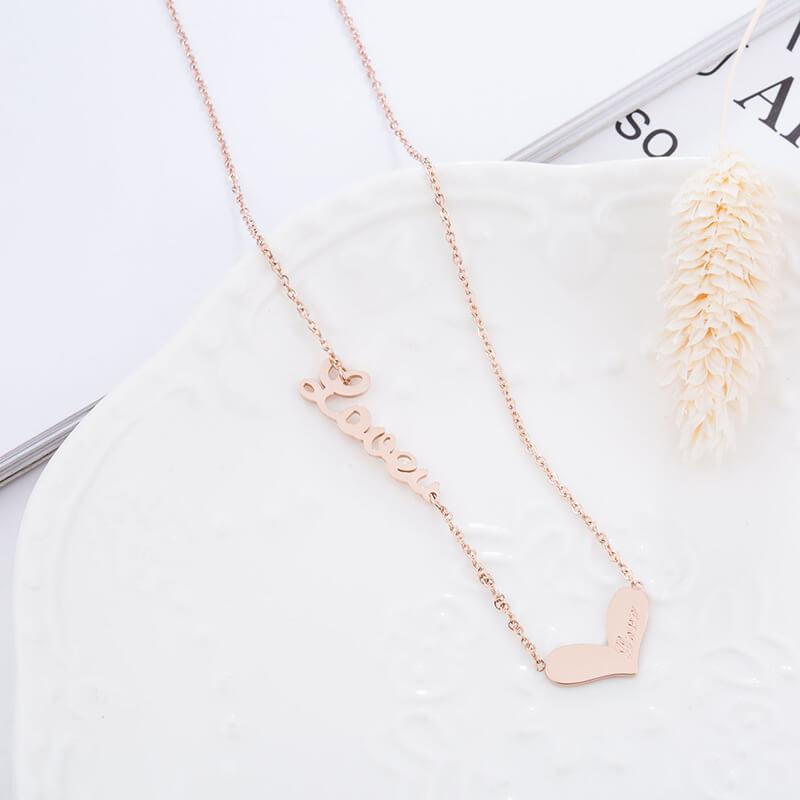 Rose Gold Love Heart Hypoallergenic Stainless Steel Dainty Necklace - Del Valle