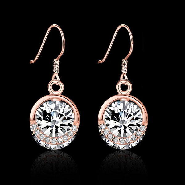 Rose Gold Plated 925 Sterling Silver Cubic Zirconia Pave Hook Earrings - Del Valle