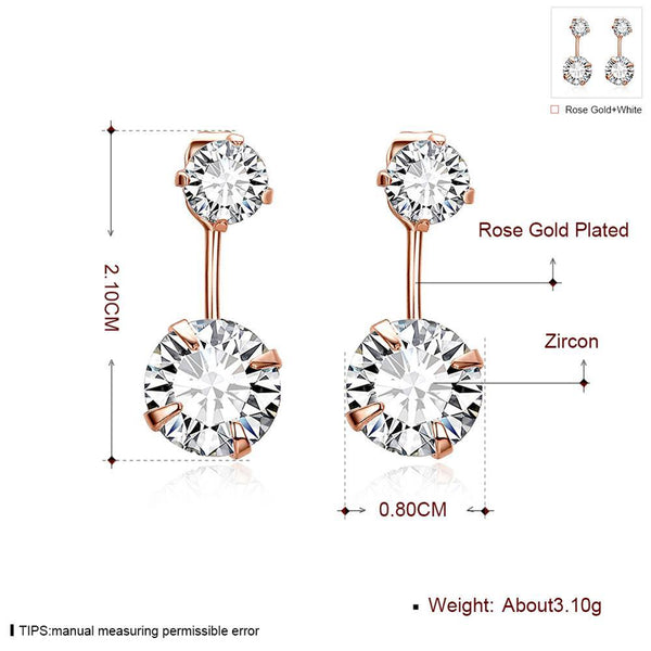 Rose Gold Plated Double Diamonds Front Back Dangle Stud Earrings - Del Valle