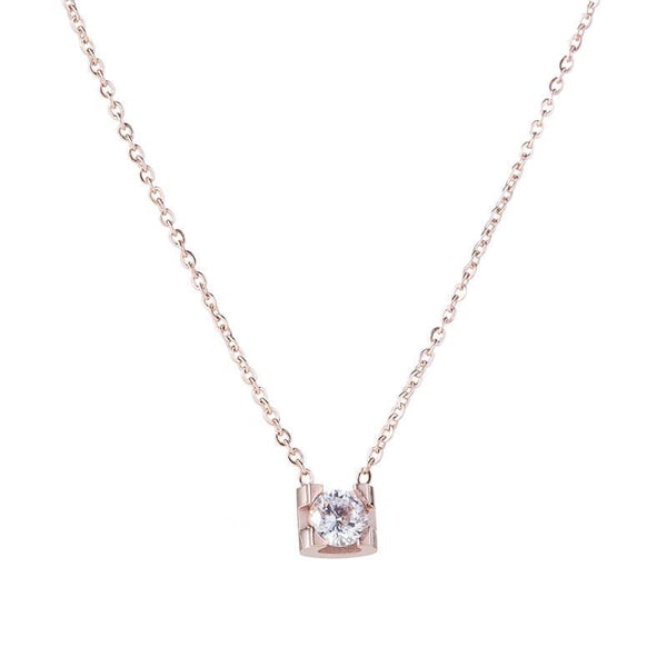 Rose Gold Single Crystal Hypoallergenic Stainless Steel Dainty Necklace - Del Valle