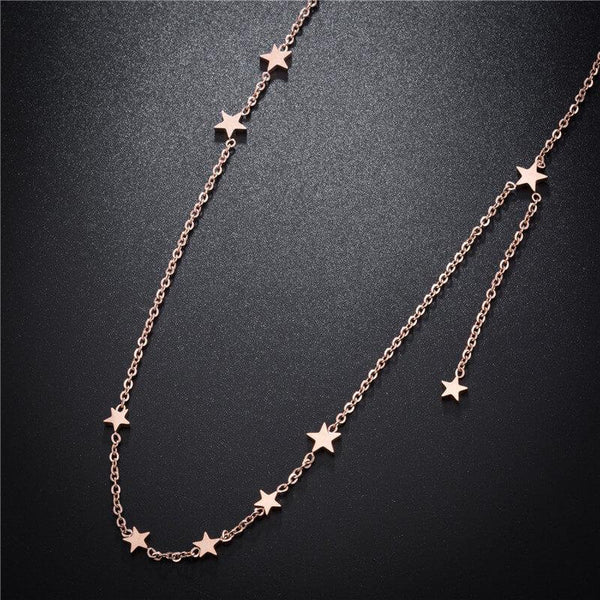 Rose Gold Stars Hypoallergenic Stainless Steel Dainty Necklace - Del Valle