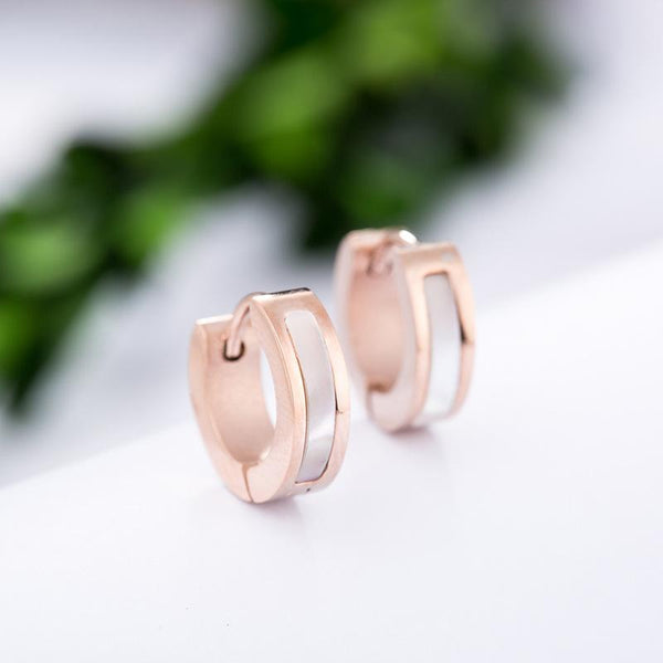 Rose Gold Surgical Stainless Steel Mother of Pearl Huggie Hoop Earring - Del Valle