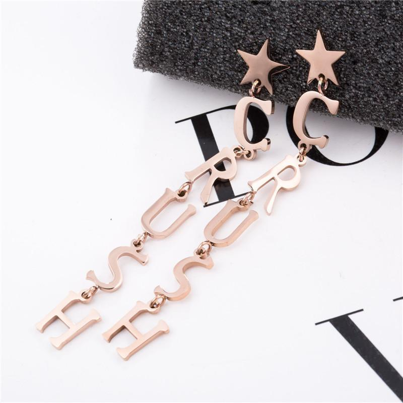 Rose Gold Surgical Stainless Steel Star Crush Stud Drop Earrings - Del Valle