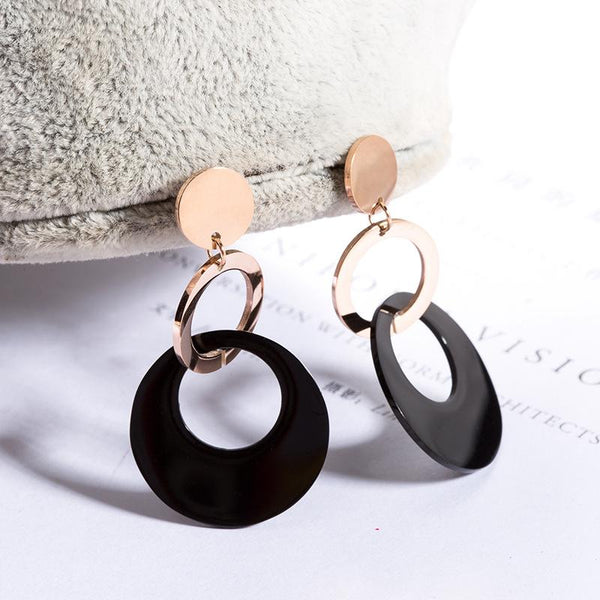 Rose Gold Black Surgical Stainless Steel Triple Circles Stud Drop Earrings Hypoallergenic - Del Valle
