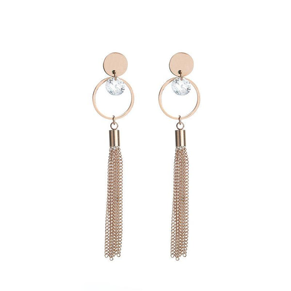 Rose Gold Zircon Hoop Surgical Stainless Steel Stud Drop Earrings - Del Valle