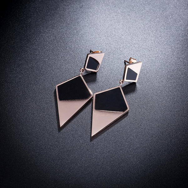 Rose Gold and Black Double Diamond Shaped Surgical Steel Earrings - Del Valle