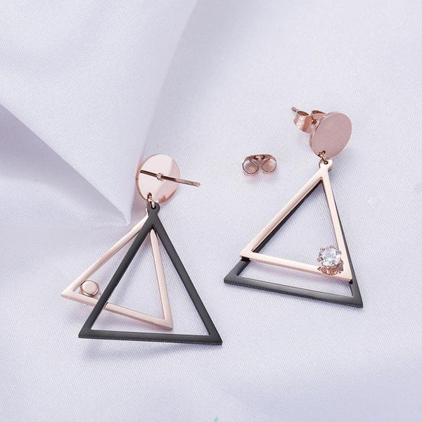 Rose Gold and Black Hollow Out Triangle Surgical Steel Crystal Earrings - Del Valle