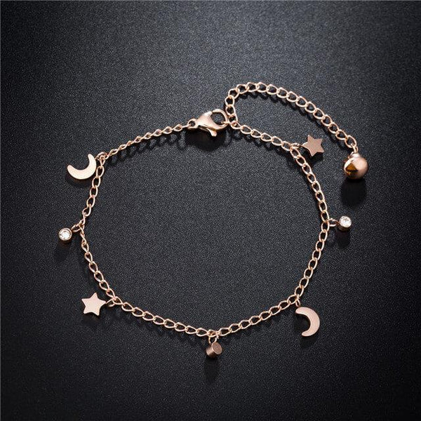 Star & Moon Rose Gold Stainless Steel Zirconia Bracelet - Del Valle