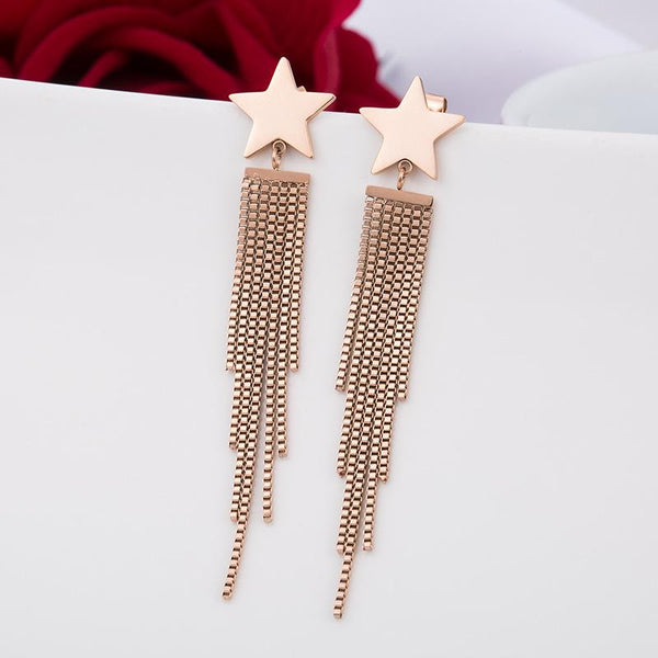 Rose Gold Star Tassel Surgical Stainless Steel Stud Drop Earrings - Del Valle
