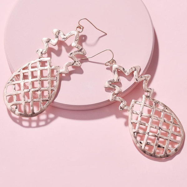 Statement Pineapple Drop Hook Earrings - Del Valle