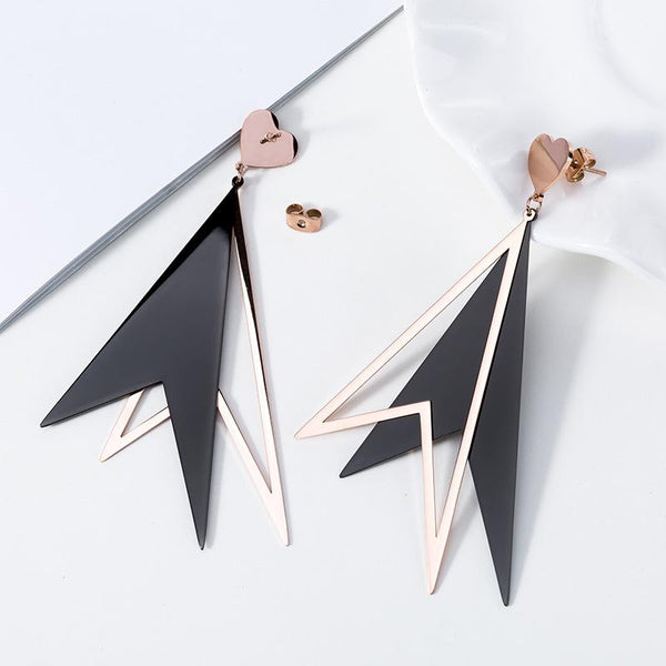 Unique Rose Gold Surgical Stainless Steel Geometric Reversed V Shape Stud Drop Earring - Del Valle