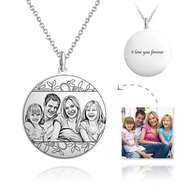 Personalized Photo Engraved Necklace in Circle Silver - Del Valle