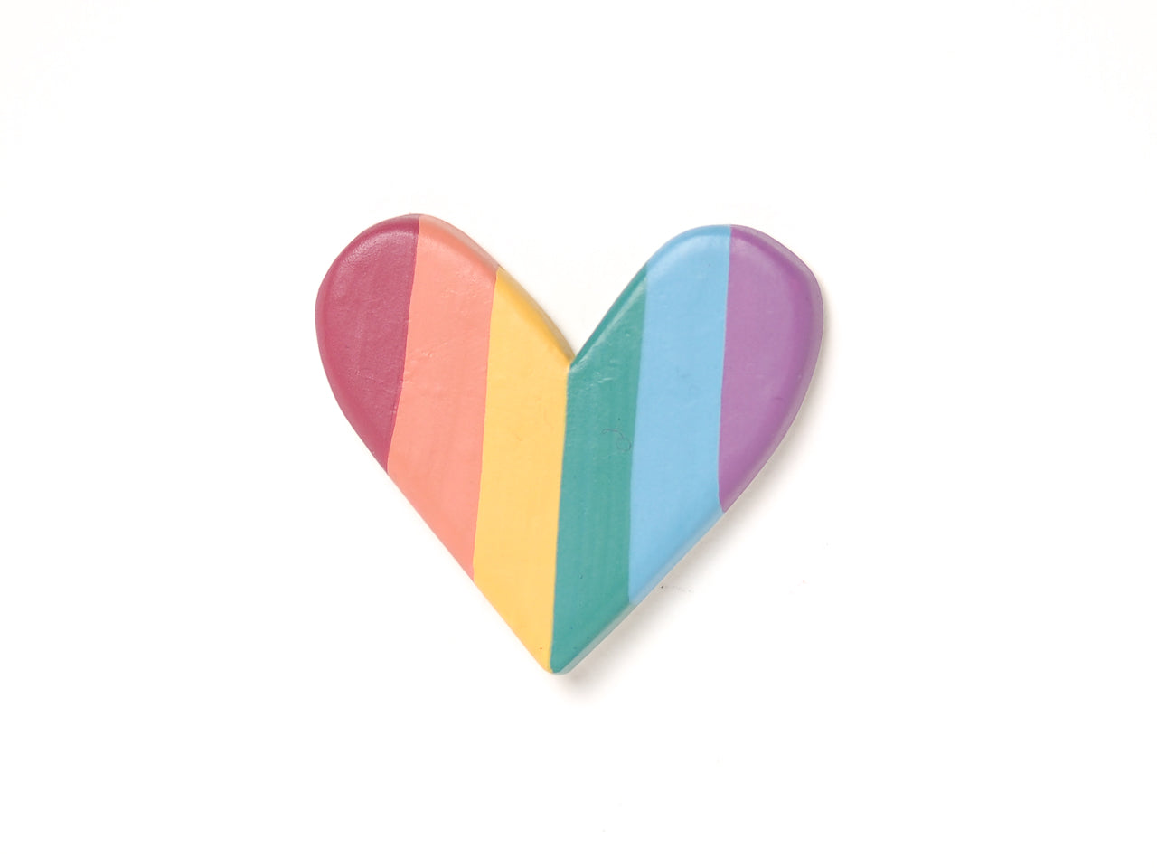 Rainbow Heart Brooch Pin