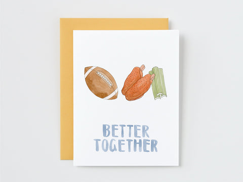 Football and Buffalo Wings Better Together Card