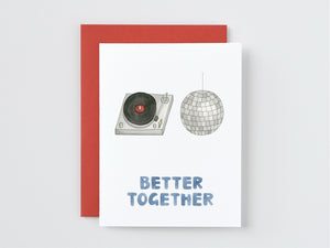 Turntable and Disco Ball Better Together Card