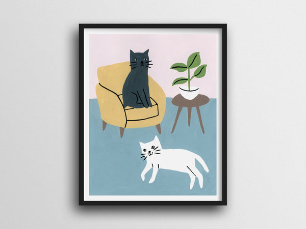 Black And White Cats Giclee Print