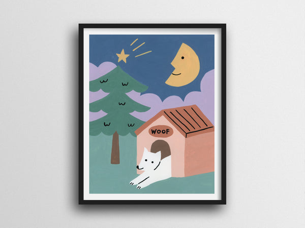 Dog Quiet Night Whimsical Giclee Print